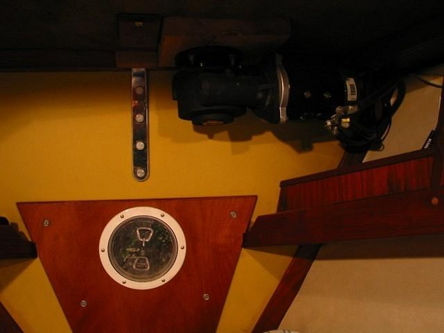 This is a rather poor photo of the chainplate for the inner stay, in the V-berth. You can see that it sits amidships, next to th