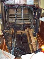 Engine room with the engine and fuel tank removed